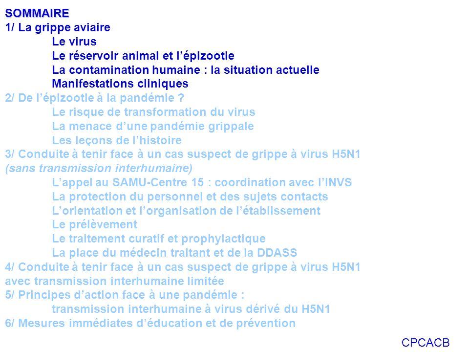 CPCACB Les leçons de lhistoire les plus récentes 1918 – 1920 : Grippe espagnole A(H1N1) Plus de 20 millions de morts dans le monde en 2ans dont 120 000 morts en France Un milliard de malades Trois phases Phase 1 : mars- juin 1918 Phase 2 : fin août 1918- mars 1919 Phase 3 : mars 1919- juin 1920 1957 – 58 : Grippe asiatique A(H2N2) 1968 – 69 : Grippe de Hong-Kong A(H3N2) 18 000 morts en France A l époque: pas de mesures barrières, pas de veille et d alerte