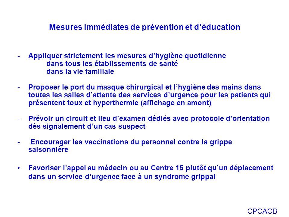 CPCACB Mesures immédiates de prévention et déducation -Appliquer strictement les mesures dhygiène quotidienne dans tous les établissements de santé da