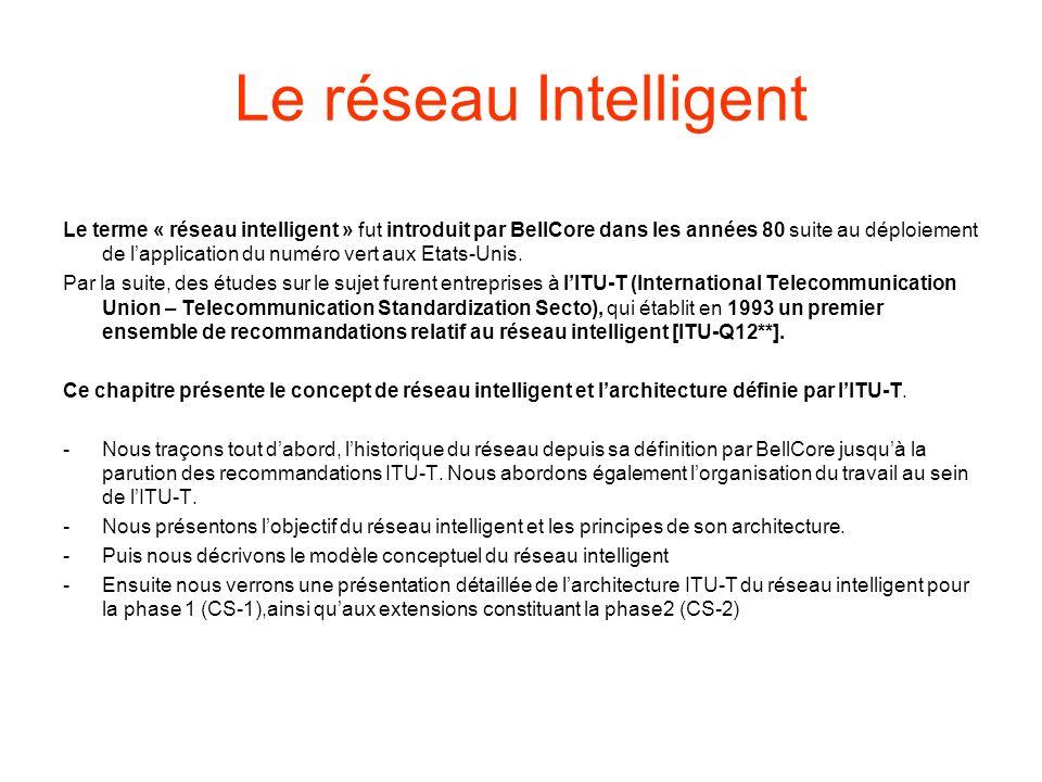 Le réseau Intelligent Le terme « réseau intelligent » fut introduit par BellCore dans les années 80 suite au déploiement de lapplication du numéro vert aux Etats-Unis.