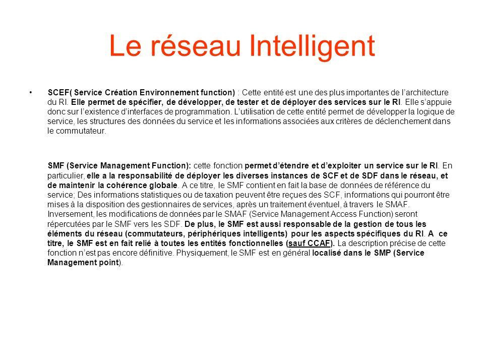 Le réseau Intelligent SCEF( Service Création Environnement function) : Cette entité est une des plus importantes de larchitecture du RI.