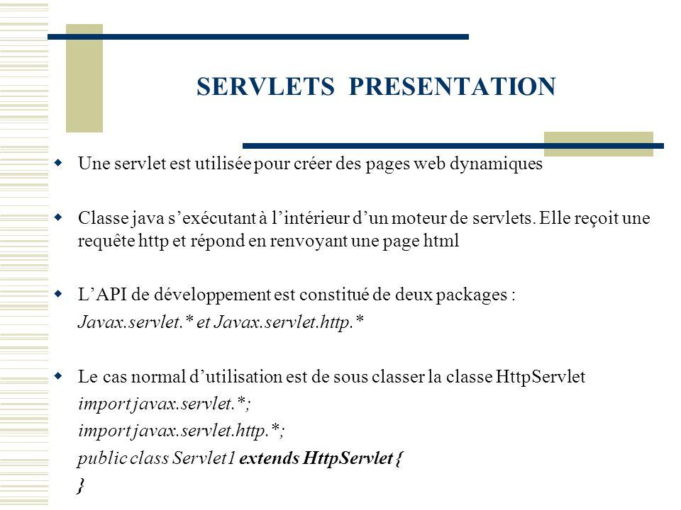 SERVLETS PRESENTATION Une servlet est utilisée pour créer des pages web dynamiques Classe java sexécutant à lintérieur dun moteur de servlets. Elle re