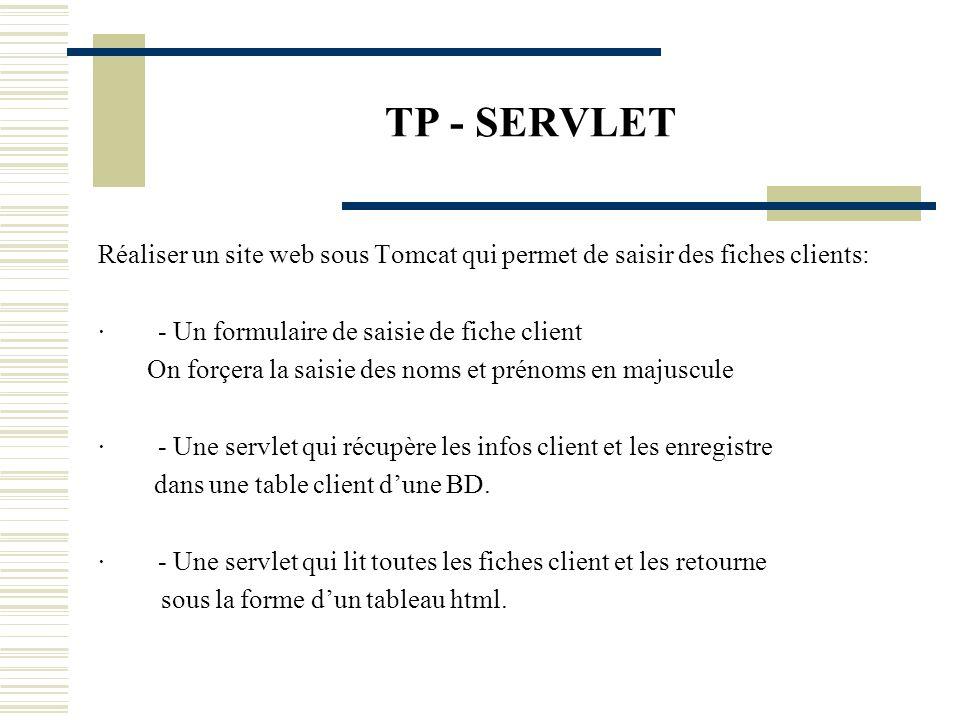 TP - SERVLET Réaliser un site web sous Tomcat qui permet de saisir des fiches clients: · - Un formulaire de saisie de fiche client On forçera la saisi