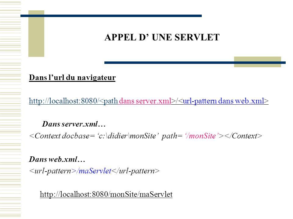 APPEL D UNE SERVLET Dans un lien href Cliquez ici pour appeler maServlet « /path/url-pattern » Lappel dune servlet dans un lien href ou dans lurl du navigateur appelle la méthode doGet et non doPost, la méthode doPost ne peut être appelée quà partir dun formulaire.