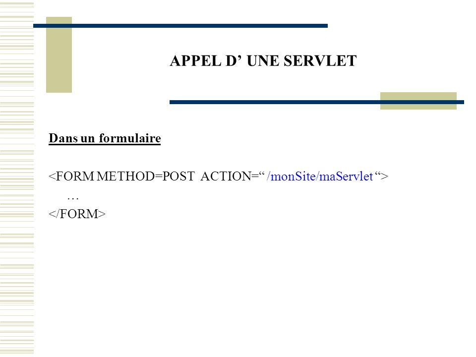 TD1 – SERVLET Créer un nouveau site qui contiendra une seule page html.