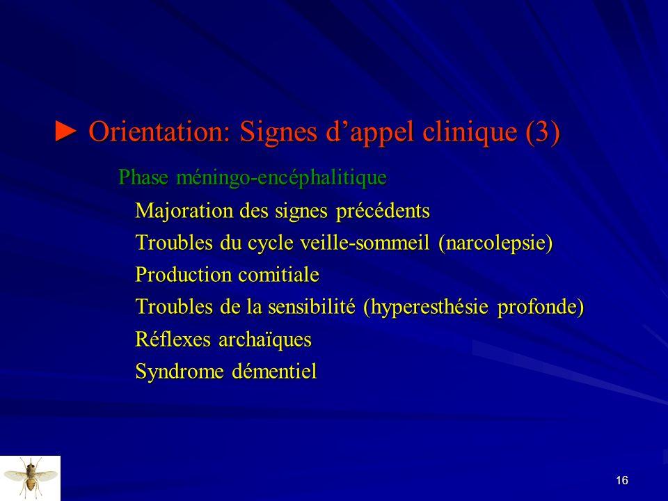 16 Orientation: Signes dappel clinique (3) Orientation: Signes dappel clinique (3) Phase méningo-encéphalitique Phase méningo-encéphalitique Majoratio