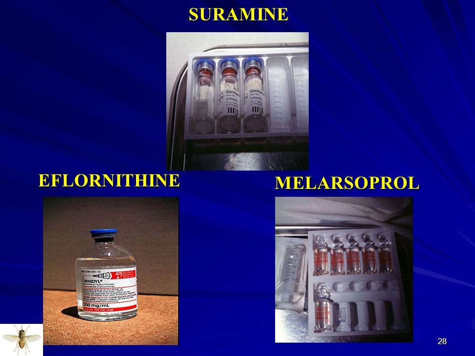 28 SURAMINE EFLORNITHINE EFLORNITHINE MELARSOPROL MELARSOPROL