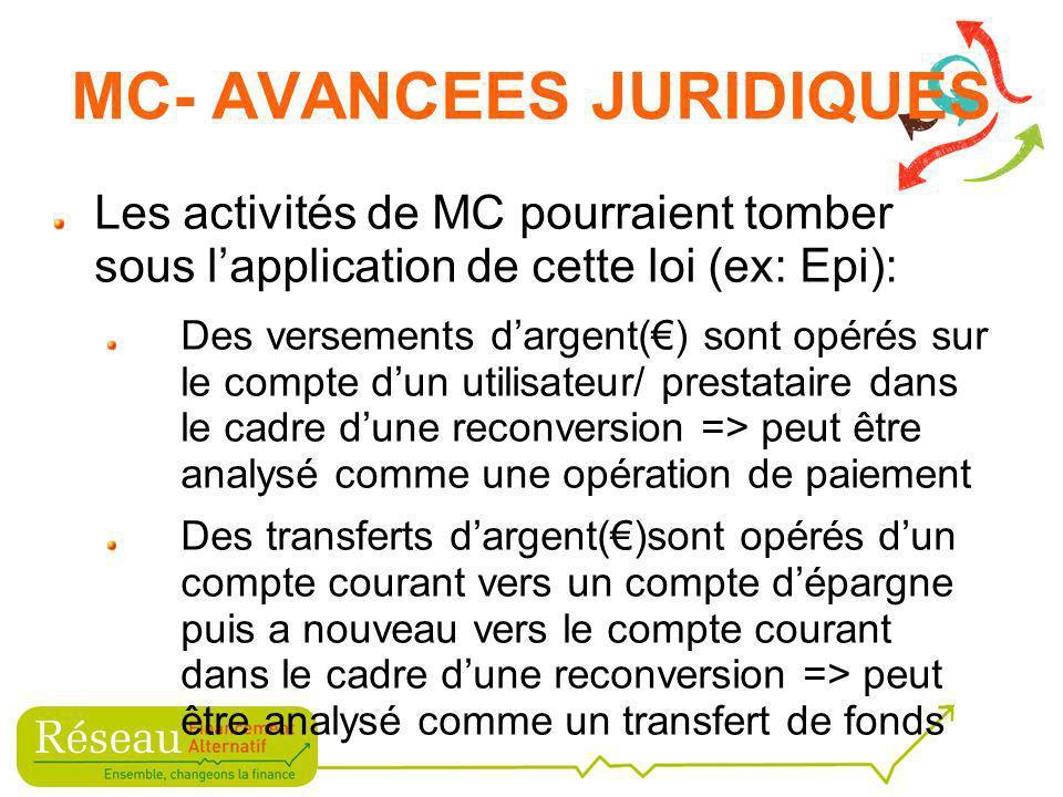 Les activités de MC pourraient tomber sous lapplication de cette loi (ex: Epi): Des versements dargent() sont opérés sur le compte dun utilisateur/ prestataire dans le cadre dune reconversion => peut être analysé comme une opération de paiement Des transferts dargent()sont opérés dun compte courant vers un compte dépargne puis a nouveau vers le compte courant dans le cadre dune reconversion => peut être analysé comme un transfert de fonds MC- AVANCEES JURIDIQUES