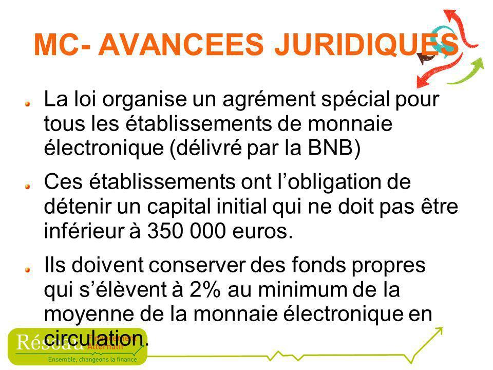 La loi organise un agrément spécial pour tous les établissements de monnaie électronique (délivré par la BNB) Ces établissements ont lobligation de détenir un capital initial qui ne doit pas être inférieur à 350 000 euros.
