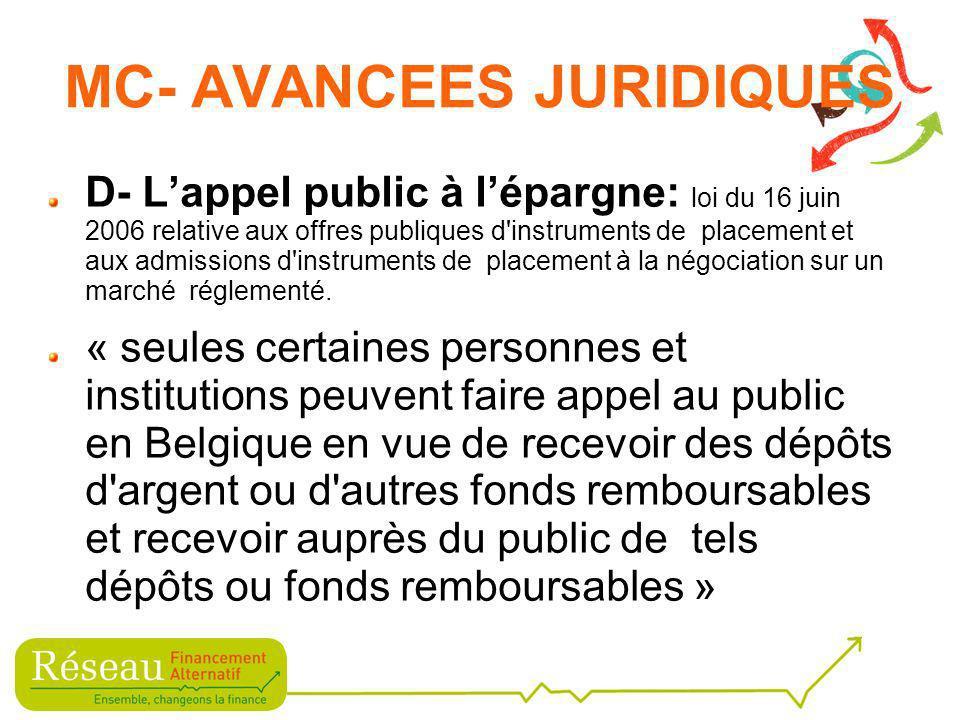 D- Lappel public à lépargne: loi du 16 juin 2006 relative aux offres publiques d instruments de placement et aux admissions d instruments de placement à la négociation sur un marché réglementé.