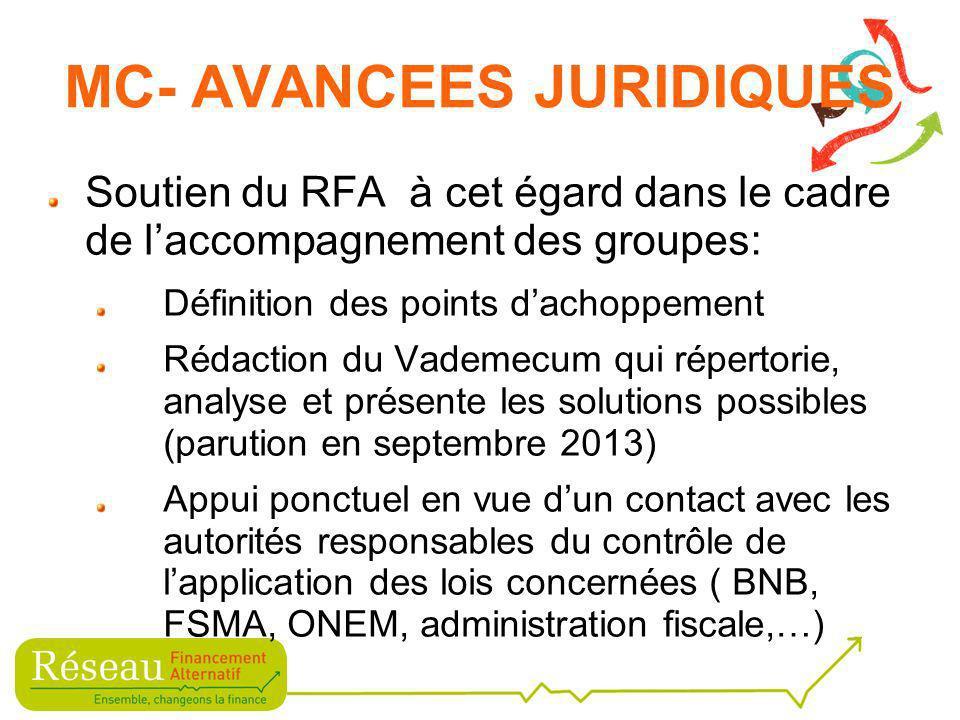 A ce stade, le RFA étudie deux pistes qui permettraient de procéder à de la récolte de fonds remboursables dans le respect des dispositions de la loi du 16 juin 2006, sans toutefois devoir être soumis au formalisme et au contrôle imposé par la loi et devoir en supporter les coûts (la contribution à payer à la FSMA pour une demande dapprobation de prospectus est denviron 10.000) MC- AVANCEES JURIDIQUES