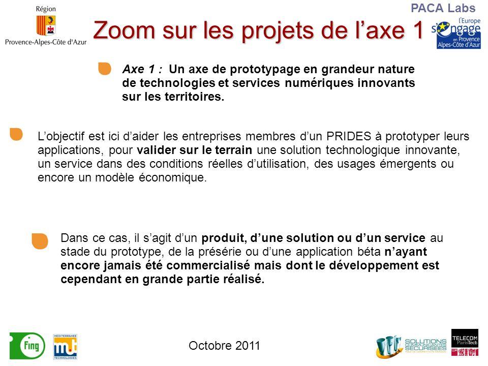 PACA Labs Zoom sur les projets de laxe 1 Axe 1 : Un axe de prototypage en grandeur nature de technologies et services numériques innovants sur les territoires.