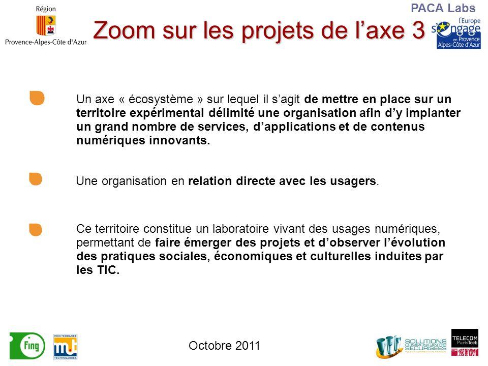 PACA Labs Zoom sur les projets de laxe 3 Un axe « écosystème » sur lequel il sagit de mettre en place sur un territoire expérimental délimité une organisation afin dy implanter un grand nombre de services, dapplications et de contenus numériques innovants.