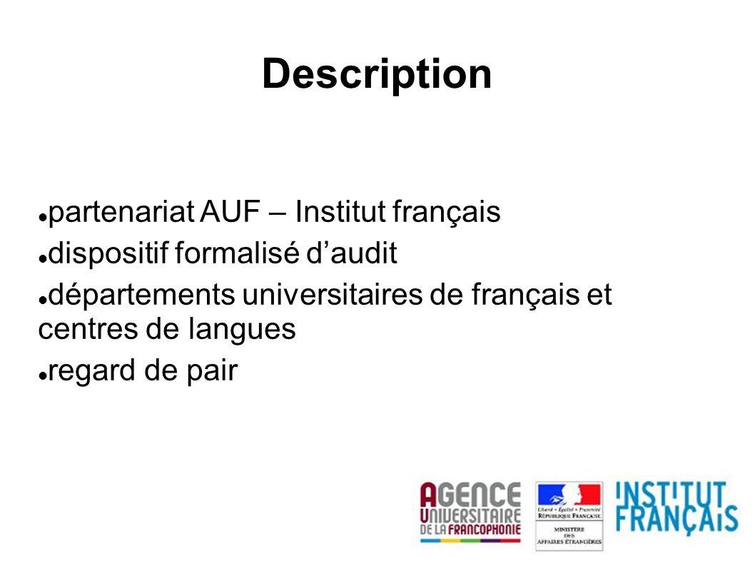 partenariat AUF – Institut français dispositif formalisé daudit départements universitaires de français et centres de langues regard de pair Descripti