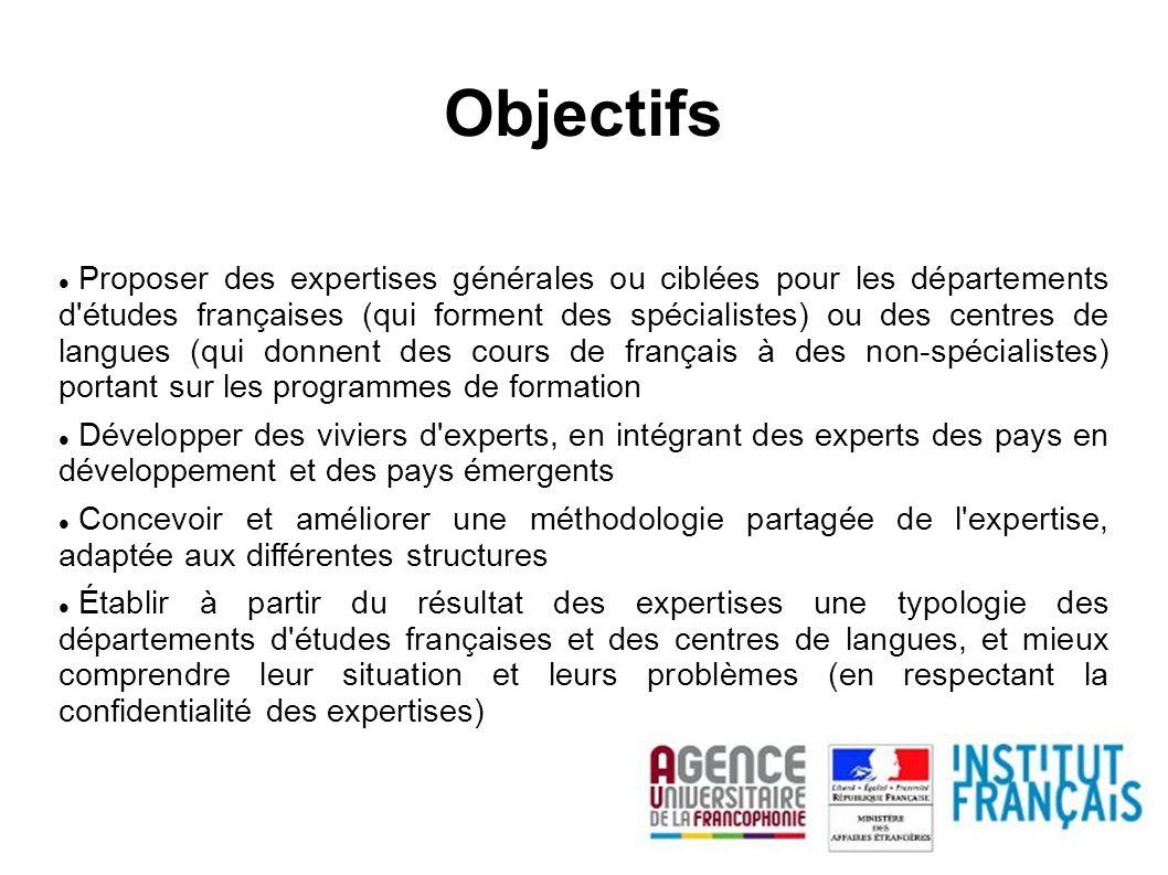Proposer des expertises générales ou ciblées pour les départements d'études françaises (qui forment des spécialistes) ou des centres de langues (qui d