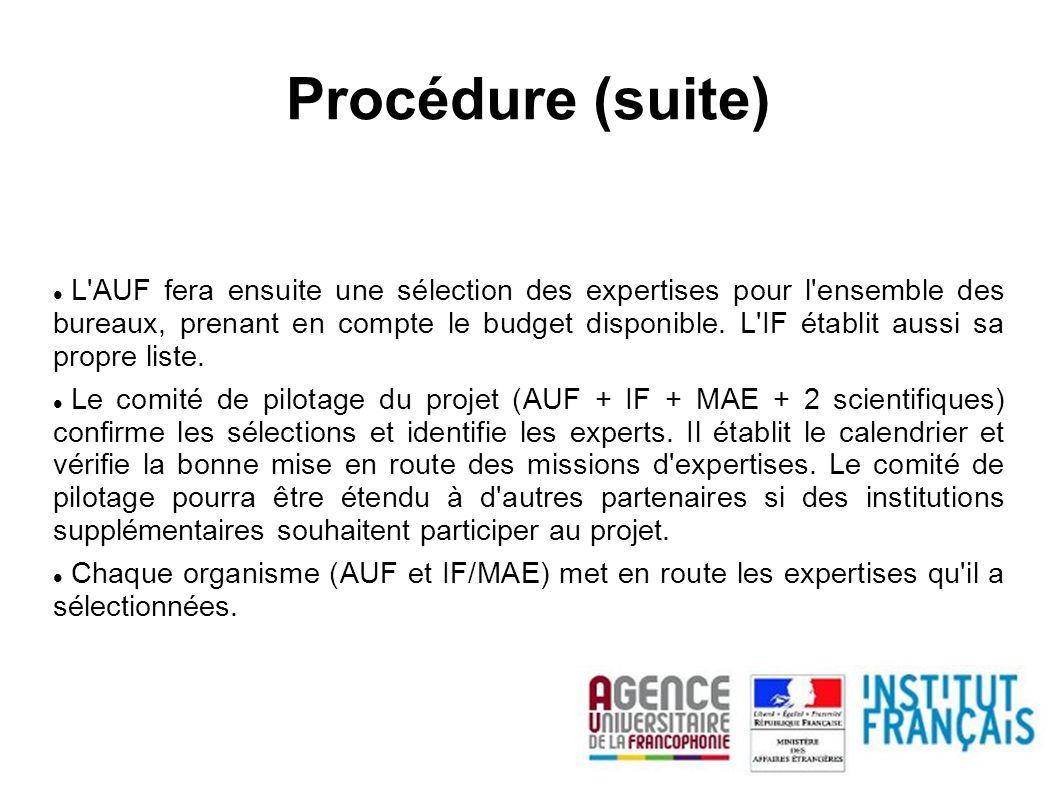Procédure (suite) L'AUF fera ensuite une sélection des expertises pour l'ensemble des bureaux, prenant en compte le budget disponible. L'IF établit au