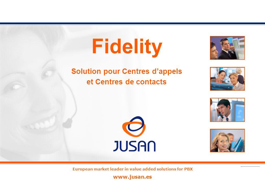 European market leader in value added solutions for PBX www.jusan.es Fidelity Solution pour Centres dappels et Centres de contacts