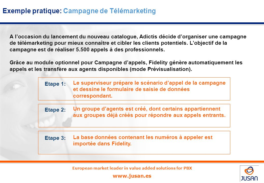 European market leader in value added solutions for PBX www.jusan.es Ecran de lagent avec affichage simultané du bandeau Fidelity et de la fiche de sa