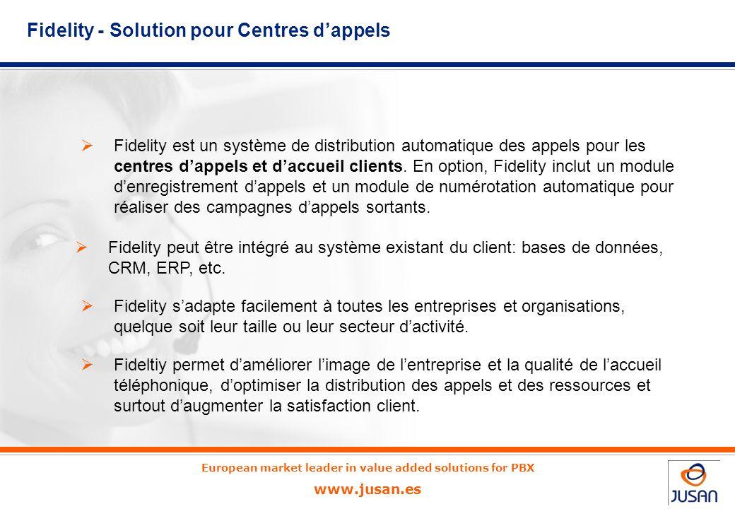 European market leader in value added solutions for PBX www.jusan.es Fidelity est un système de distribution automatique des appels pour les centres dappels et daccueil clients.
