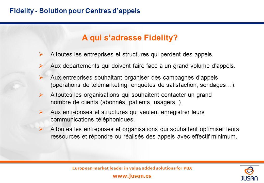 European market leader in value added solutions for PBX www.jusan.es A toutes les entreprises et structures qui perdent des appels.