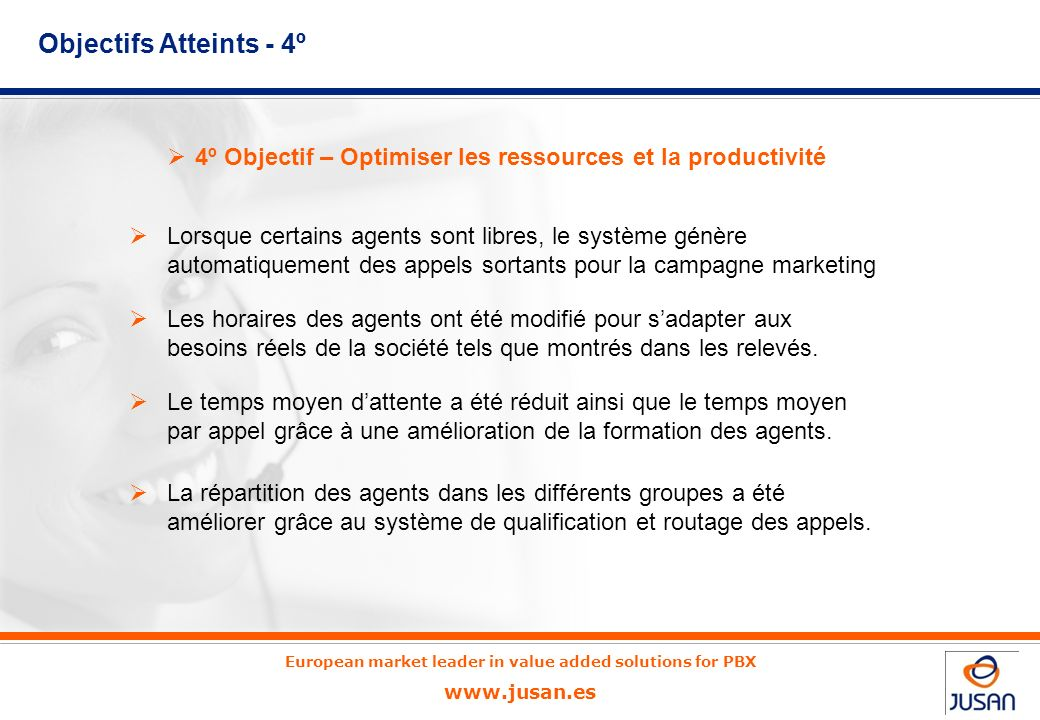 European market leader in value added solutions for PBX www.jusan.es 3º Objectif – Améliorer le service et lattention clients Amélioration de la forma