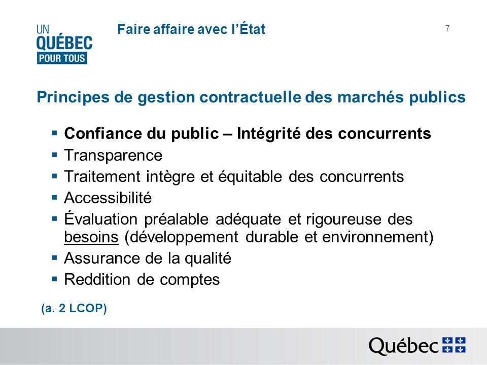 Faire affaire avec lÉtat 7 Principes de gestion contractuelle des marchés publics Confiance du public – Intégrité des concurrents Transparence Traitement intègre et équitable des concurrents Accessibilité Évaluation préalable adéquate et rigoureuse des besoins (développement durable et environnement) Assurance de la qualité Reddition de comptes (a.