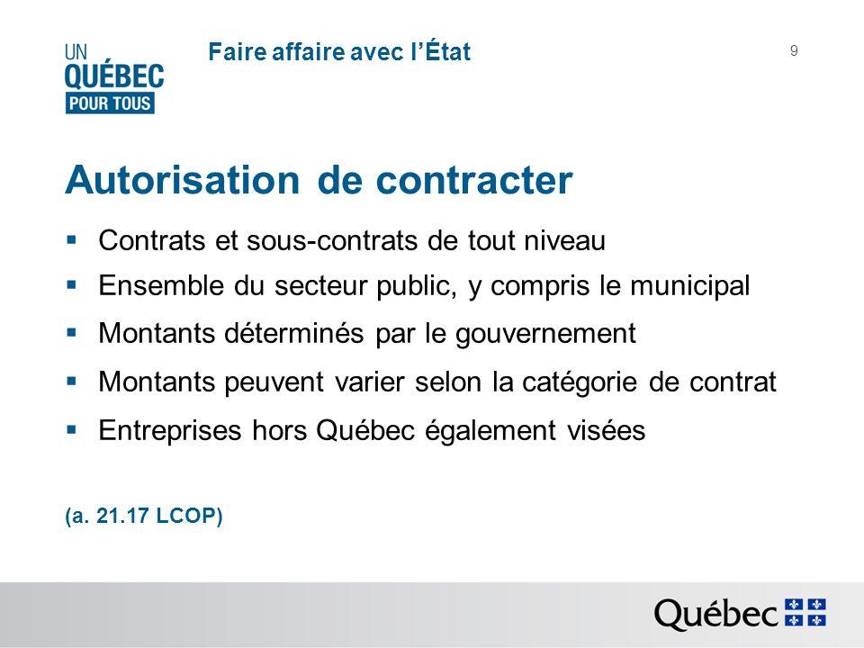 9 Autorisation de contracter Contrats et sous-contrats de tout niveau Ensemble du secteur public, y compris le municipal Montants déterminés par le gouvernement Montants peuvent varier selon la catégorie de contrat Entreprises hors Québec également visées (a.