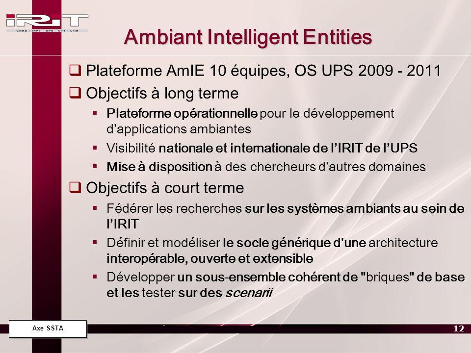 Axe SSTA 12 Ambiant Intelligent Entities Plateforme AmIE 10 équipes, OS UPS 2009 - 2011 Objectifs à long terme Plateforme opérationnelle pour le dével