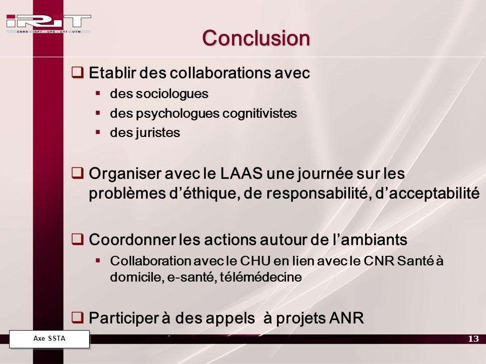 Axe SSTA 13 Conclusion Etablir des collaborations avec des sociologues des psychologues cognitivistes des juristes Organiser avec le LAAS une journée