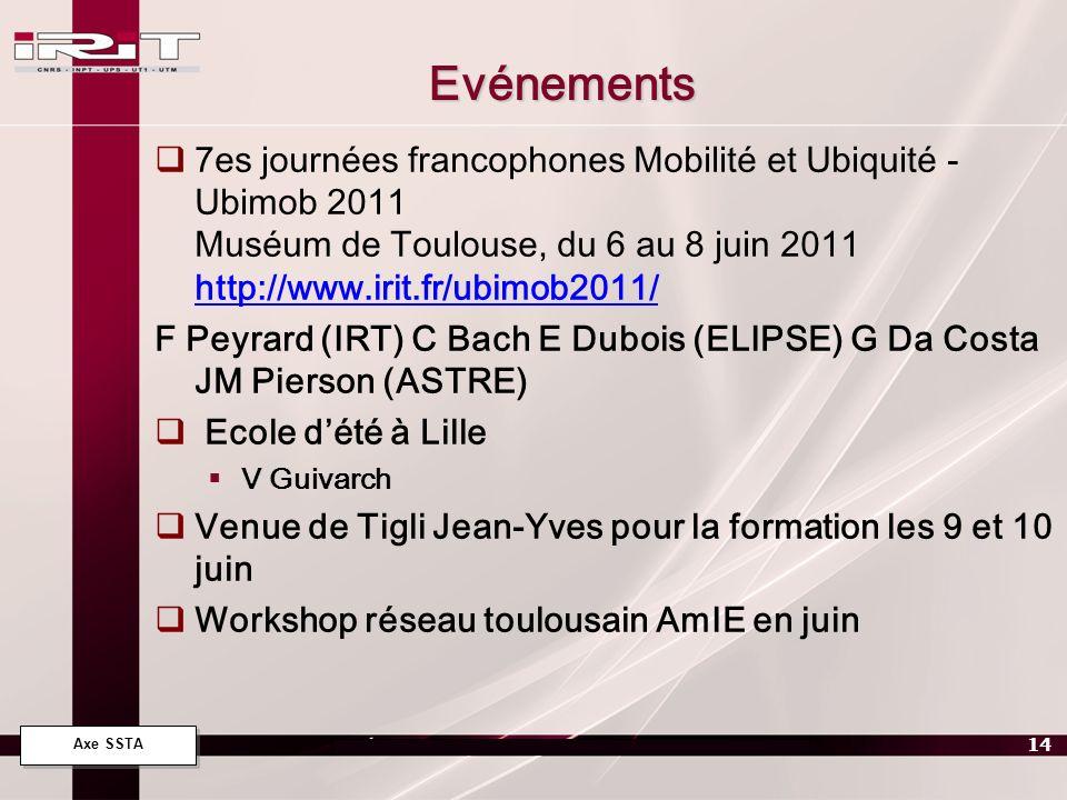 Axe SSTA 14 Evénements 7es journées francophones Mobilité et Ubiquité - Ubimob 2011 Muséum de Toulouse, du 6 au 8 juin 2011 http://www.irit.fr/ubimob2