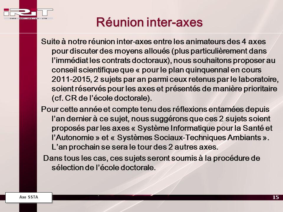 Axe SSTA 15 Réunion inter-axes Suite à notre réunion inter-axes entre les animateurs des 4 axes pour discuter des moyens alloués (plus particulièremen