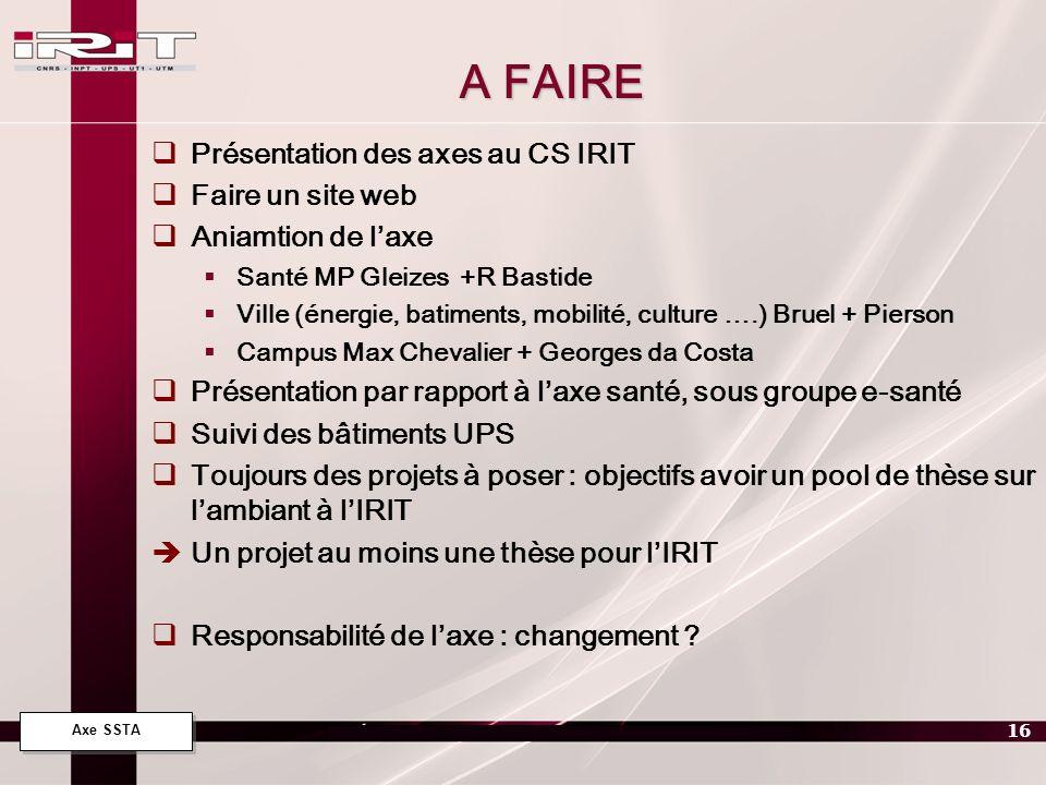 Axe SSTA 16 A FAIRE Présentation des axes au CS IRIT Faire un site web Aniamtion de laxe Santé MP Gleizes +R Bastide Ville (énergie, batiments, mobili