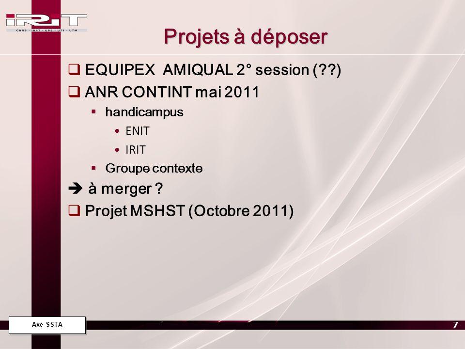 Axe SSTA 7 Projets à déposer EQUIPEX AMIQUAL 2° session (??) ANR CONTINT mai 2011 handicampus ENIT IRIT Groupe contexte à merger ? Projet MSHST (Octob