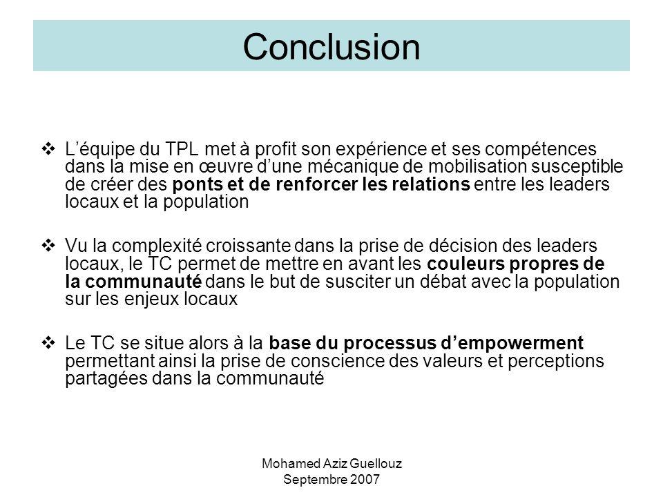 Mohamed Aziz Guellouz Septembre 2007 Conclusion Léquipe du TPL met à profit son expérience et ses compétences dans la mise en œuvre dune mécanique de