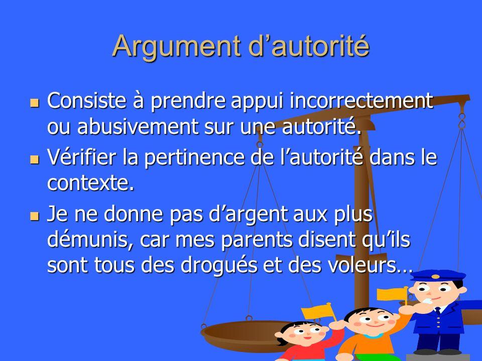 Argument dautorité Consiste à prendre appui incorrectement ou abusivement sur une autorité. Consiste à prendre appui incorrectement ou abusivement sur