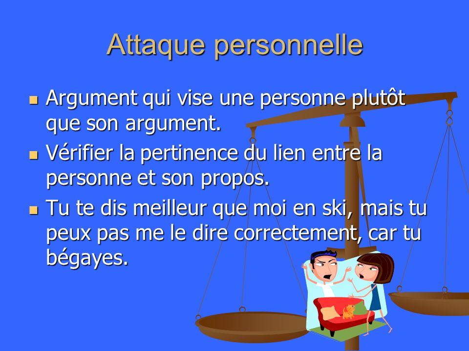 Attaque personnelle Argument qui vise une personne plutôt que son argument. Argument qui vise une personne plutôt que son argument. Vérifier la pertin