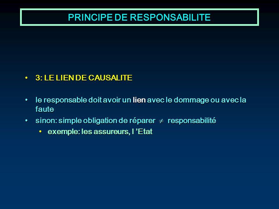 PRINCIPE DE RESPONSABILITE 3: LE LIEN DE CAUSALITE3: LE LIEN DE CAUSALITE le responsable doit avoir un lien avec le dommage ou avec la fautele respons