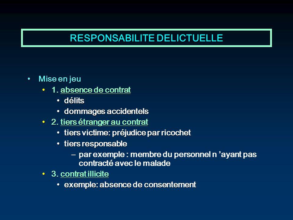 RESPONSABILITE DELICTUELLE Mise en jeuMise en jeu 1. absence de contrat1. absence de contrat délitsdélits dommages accidentelsdommages accidentels 2.