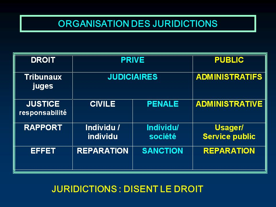 ORGANISATION DES JURIDICTIONS JURIDICTIONS : DISENT LE DROIT