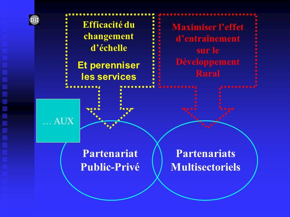 Partenariat Public-Privé Maximiser leffet dentraînement sur le Développement Rural Partenariats Multisectoriels Efficacité du changement déchelle Et perenniser les services … AUX