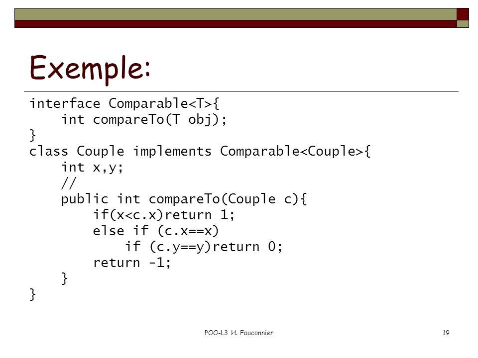 POO-L3 H. Fauconnier19 Exemple: interface Comparable { int compareTo(T obj); } class Couple implements Comparable { int x,y; // public int compareTo(C