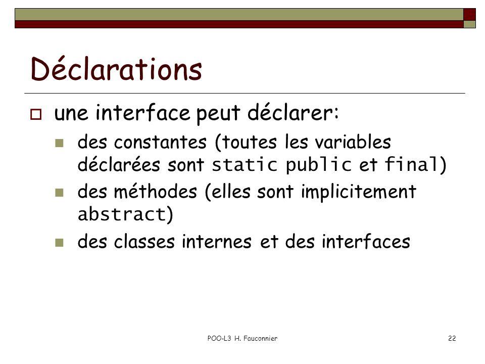 POO-L3 H. Fauconnier22 Déclarations une interface peut déclarer: des constantes (toutes les variables déclarées sont static public et final ) des méth