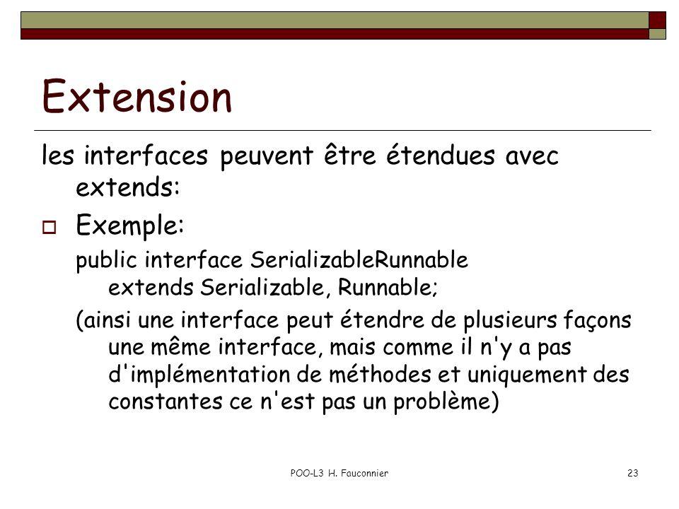 POO-L3 H. Fauconnier23 Extension les interfaces peuvent être étendues avec extends: Exemple: public interface SerializableRunnable extends Serializabl