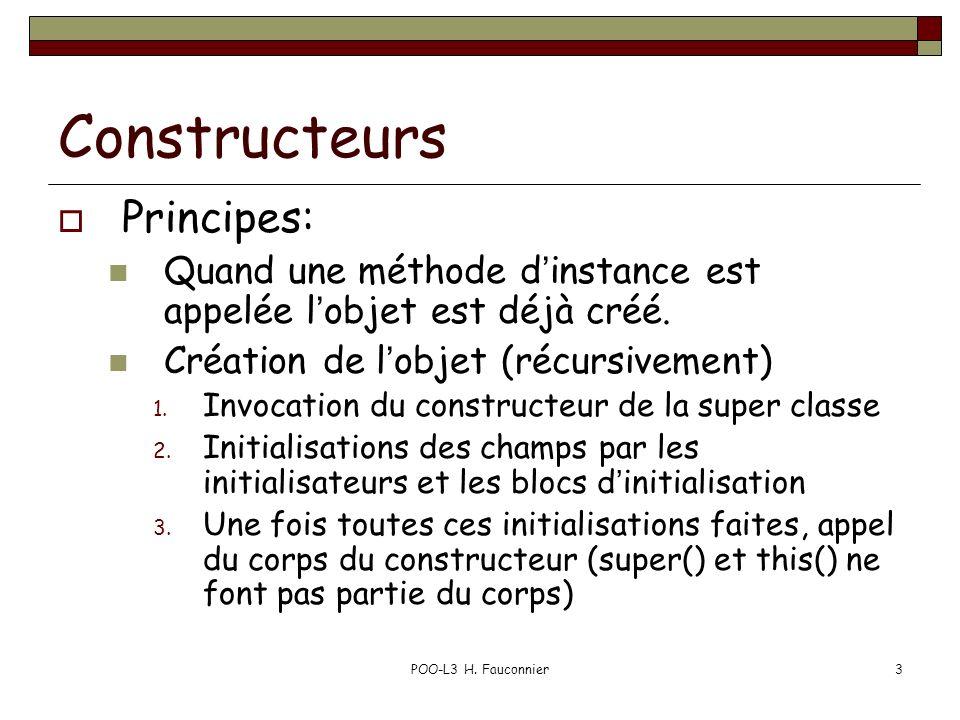 POO-L3 H. Fauconnier3 Constructeurs Principes: Quand une méthode dinstance est appelée lobjet est déjà créé. Création de lobjet (récursivement) 1. Inv