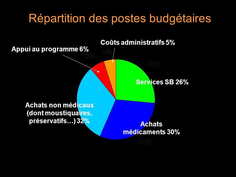 Répartition des postes budgétaires Services SB 26% Achats médicaments 30% Achats non médicaux (dont moustiquaires, préservatifs…) 32% Appui au programme 6% Coûts administratifs 5%