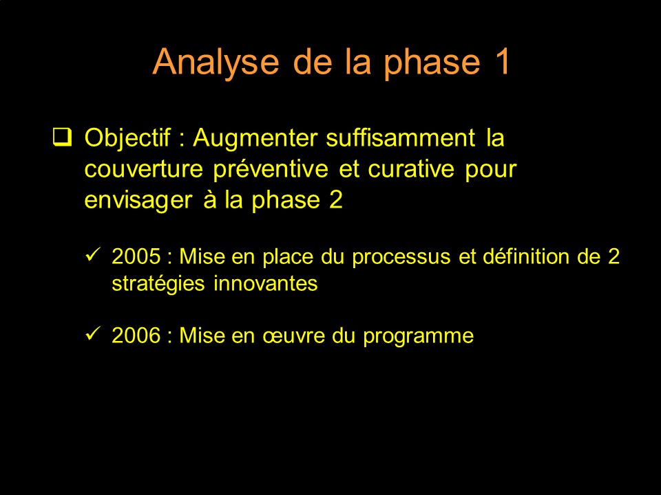 Analyse de la phase 1 Objectif : Augmenter suffisamment la couverture préventive et curative pour envisager à la phase 2 2005 : Mise en place du processus et définition de 2 stratégies innovantes 2006 : Mise en œuvre du programme