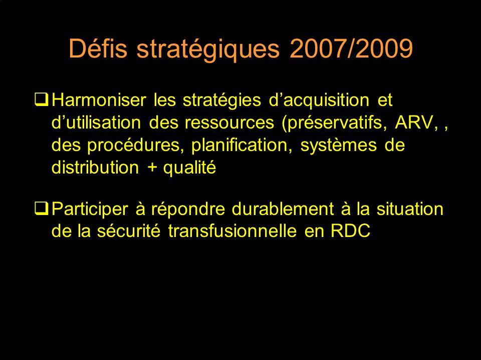 Défis stratégiques 2007/2009 Harmoniser les stratégies dacquisition et dutilisation des ressources (préservatifs, ARV,, des procédures, planification,