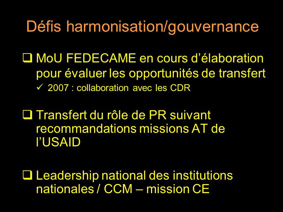 Défis harmonisation/gouvernance MoU FEDECAME en cours délaboration pour évaluer les opportunités de transfert 2007 : collaboration avec les CDR Transfert du rôle de PR suivant recommandations missions AT de lUSAID Leadership national des institutions nationales / CCM – mission CE