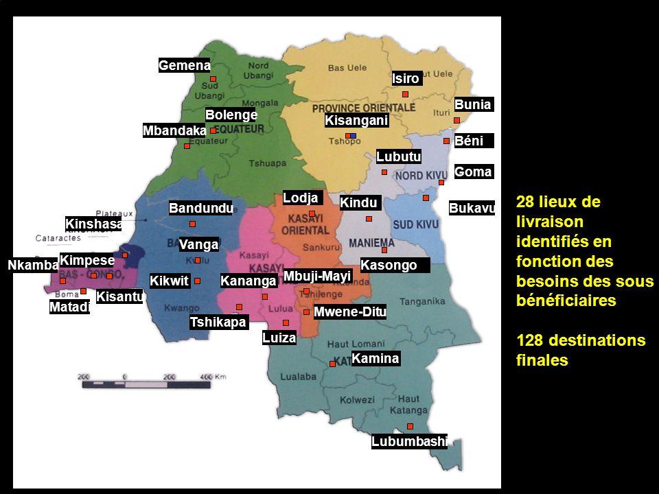 Bukavu Béni Bandundu Bolenge Gemena Goma Isiro Kamina Kananga Kasongo Kikwit Kindu Kinshasa Kisangani Lodja Lubumbashi Lubutu Luiza Mbandaka Mbuji-May