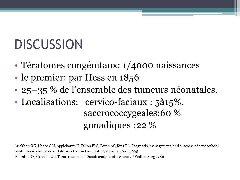 DISCUSSION Tératomes congénitaux: 1/4000 naissances le premier: par Hess en 1856 25–35 % de lensemble des tumeurs néonatales. Localisations: cervico-f