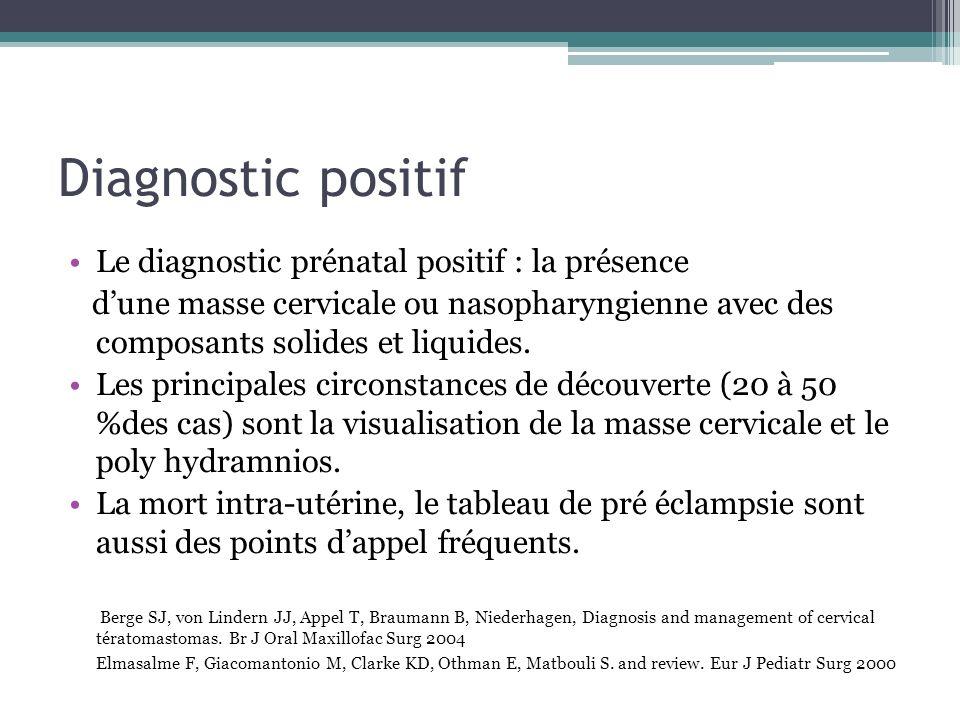 Diagnostic positif Le diagnostic prénatal positif : la présence dune masse cervicale ou nasopharyngienne avec des composants solides et liquides. Les